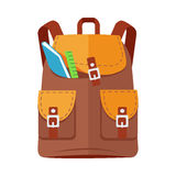 Brown Backpack Schoolbag Icon with Notebook Ruler Stock Images