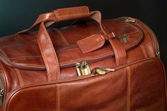 Brown bag. Brown leather travel bag Stock Images