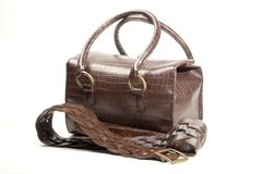 Brown bag and belt Royalty Free Stock Images
