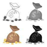 A brown bag with coins and dollars. Win in the casino.Kasino single icon in cartoon style vector symbol stock Royalty Free Stock Images