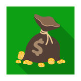 A brown bag with coins and dollars. Win in the casino.Kasino single icon in flat style vector symbol stock illustration. Royalty Free Stock Photos