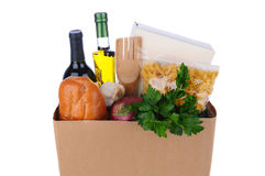 Brown Bag Full of Groceries Stock Photo