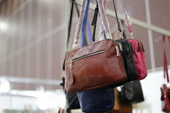 Brown bag hanging in the shop Royalty Free Stock Photography