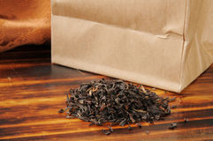 Brown bag of loose leaf black tea Royalty Free Stock Images