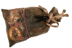 Brown bag potpourri isolated. Brown bag with potpourri isolated on white background stock photos