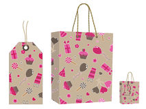 Brown bag and tag set Stock Photo