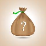Brown bag. Vector illustration. Brown bag. Question mark. Vector illustration Stock Image