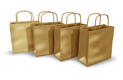 Brown bags. Group of brown bags representing groceries shopping and environmentally conscious consumer based economy stock illustration