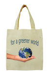 Brown bags. Bags decorated with the image of the concept of environmental protection. Elements of this image furnished by NASA Royalty Free Stock Images