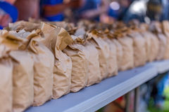 Brown Bags of Peanuts. Brown paper bags of peanuts at the annual Brooklet Peanut Festival in downtown Brooklet, Georgia Stock Images