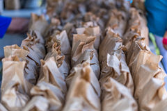 Brown Bags of Peanuts. Brown paper bags of peanuts at the annual Brooklet Peanut Festival in downtown Brooklet, Georgia Royalty Free Stock Image
