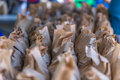 Brown Bags of Peanuts. Brown paper bags of peanuts at the annual Brooklet Peanut Festival in downtown Brooklet, Georgia Stock Image