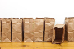 Brown Bags in a Row Royalty Free Stock Images