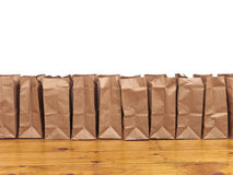 Brown Bags in a Row Stock Photography