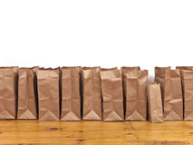 Brown Bags in a Row Royalty Free Stock Photo