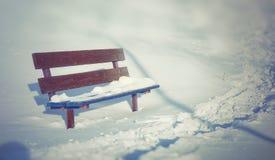 Brown-Bank im Schnee stockbild