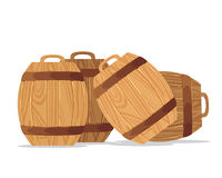 Brown barrel illustration. A barrel, cask, or tun is a hollow cylindrical container, traditionally made of wooden staves bound by wooden or metal hoops vector illustration