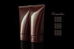 Brown barwił pustego kosmetycznego zbiornika dla twarzy śmietanki nawilża Zdjęcie Stock