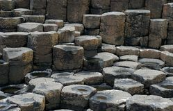 Brown basaltic columns in Ireland. Brown basaltic columns and tops of basaltic prisms & x28;fragment of the Giant's Causeway in Northern Ireland& x29 Royalty Free Stock Photography