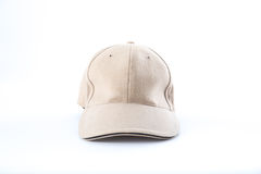 Brown baseball cap on white background Royalty Free Stock Images