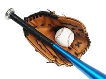 Brown baseball glove, bat and white ball Stock Photo