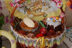 There is a basket of Easter eggs and other dishes on the table. The brown basket also has butter and sausage royalty free stock images