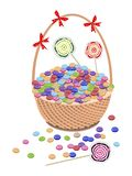 A Brown Basket of Chocolates and Lollipops Stock Photography