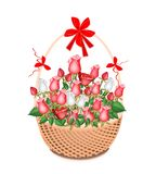 Brown Basket of Lovely White and Red Roses Stock Photo