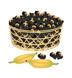 A Brown Basket of Sweet Banana Candies with Cashew Stock Images