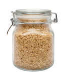 Brown Basmati Wild Rice in a Glass Canister Stock Photo