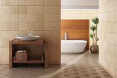 Brown bathroom including bath and sink Stock Image