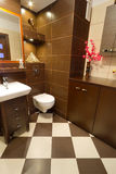 Brown bathroom interior with orange details royalty free stock photo