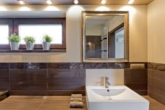 Brown bathroom with mirror above sink Royalty Free Stock Image