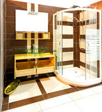 Brown bathroom shower Stock Photos