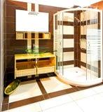 Brown bathroom shower Stock Photos