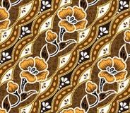 Brown-Batik schöner brauner Hintergrund und Blumen Stockbilder