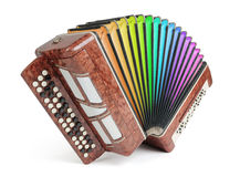 Brown bayan (accordion) colors of the rainbow Royalty Free Stock Images