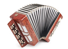 Brown bayan (accordion) isolated Stock Image