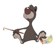 A brown bear the artist. Cartoon Stock Photo