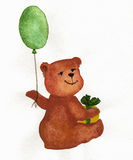 Brown bear with a balloon and a gift. The toy bear cub is drawn with water color paints on water color paper. This drawing can be used for birthday greetings and Royalty Free Stock Images