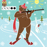 Brown bear biathlete takes aim. Humorous illustrat Royalty Free Stock Images