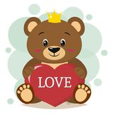 Brown bear in the crown sits and holds in the paws a red heart with the inscription love, in the style of cartoons. Cute brown bear in the crown, sits and holds Stock Illustration