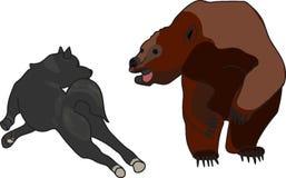 brown bear and dog Royalty Free Stock Photo