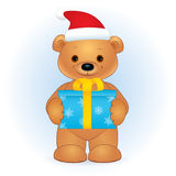 Brown bear with a gift box Christmas Royalty Free Stock Images