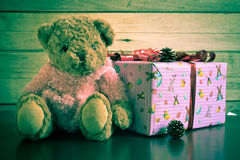 Brown bear and gift box Stock Photos