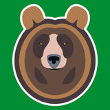 Brown Bear Head. Illustration of Serious Brown Bear Head flat logo stock illustration