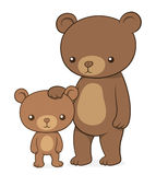 Brown bear with her cute little cub teddy Stock Photography