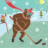 Brown bear hockey in nature. Humorous illustration Royalty Free Stock Images