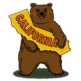 Brown Bear holding California Map Illustration Royalty Free Stock Photo
