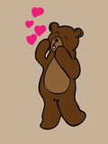 Brown bear with love hearts Royalty Free Stock Images
